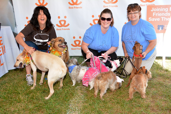 Volunteers and Fosters Donna Leonard, Jessica Simon, and Joyce Simon with RORR dogs Dibs and Lammie
